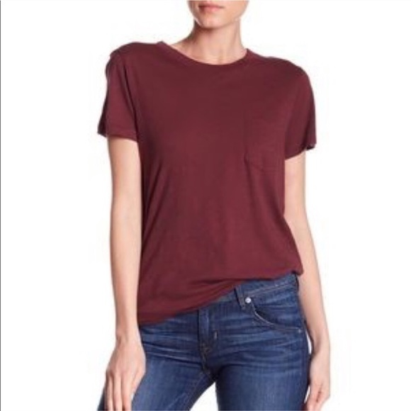 Madewell Tops - Madewell Maroon Whisper Pocket Short Sleeved Tee